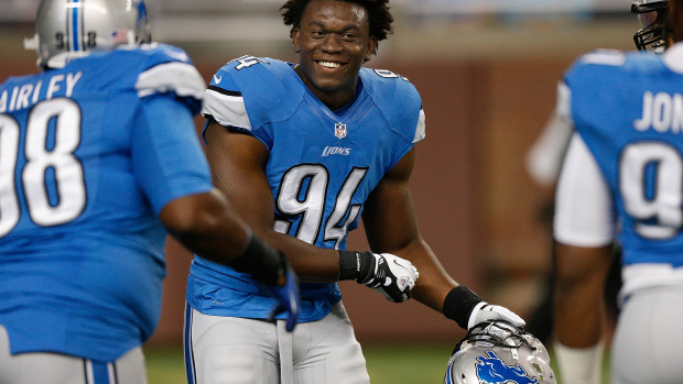 DETROIT, MI - SEPTEMBER 08: Ezekiel Ansah #94 of the Detroit Lions is all smiles during pre game prior to playing the Minnesota Vikings at Ford Field on September 8, 2013 in Detroit, Michigan. (Photo by Gregory Shamus/Getty Images)