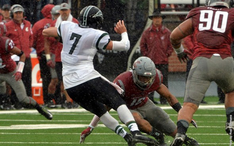 Portland State QB Alex Kuresa needed only seven completions in 12 attempts to beat Washington State. He also ran 16 times for 92 yards. / Rod Commons, Washington State athletics